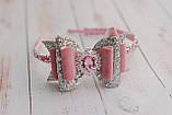Обруч розово-серебристый с бантом, фото 3