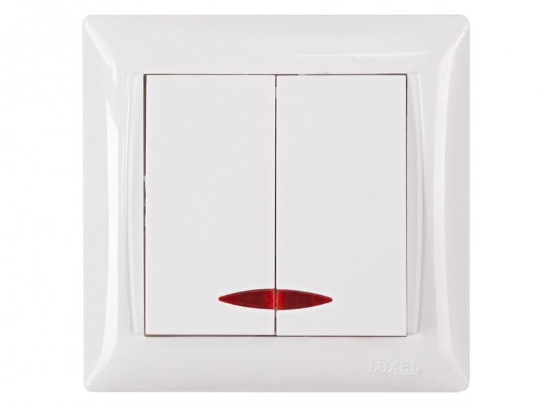 Выключатель двойной с подсветкой Luxel PRIMERA (3006) белый