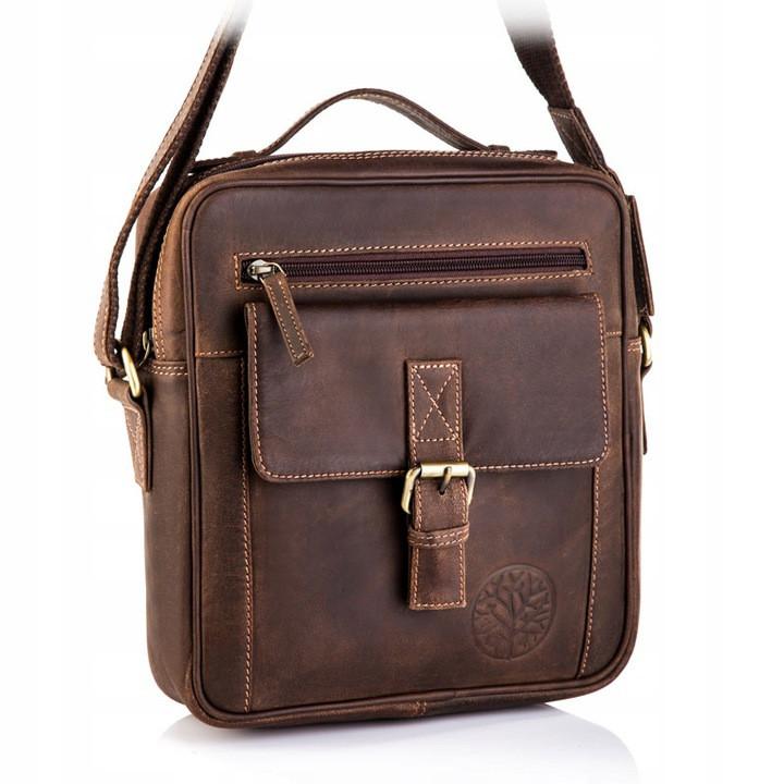 Чоловіча шкіряна сумка Betlewski 23 х 26 х 8 (TBG-HT-100) - коричнева