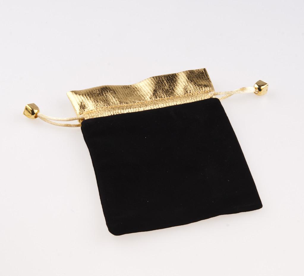 Мешочек черный с золотом 15х11