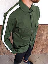 Мужская стильная рубашка с лампасом цвет хаки  Сл 1883
