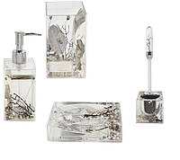 Комплект аксесуарів Trento Pearl в ванну кімнату (стакан,мильниця,дозатор для мила,йоржик)