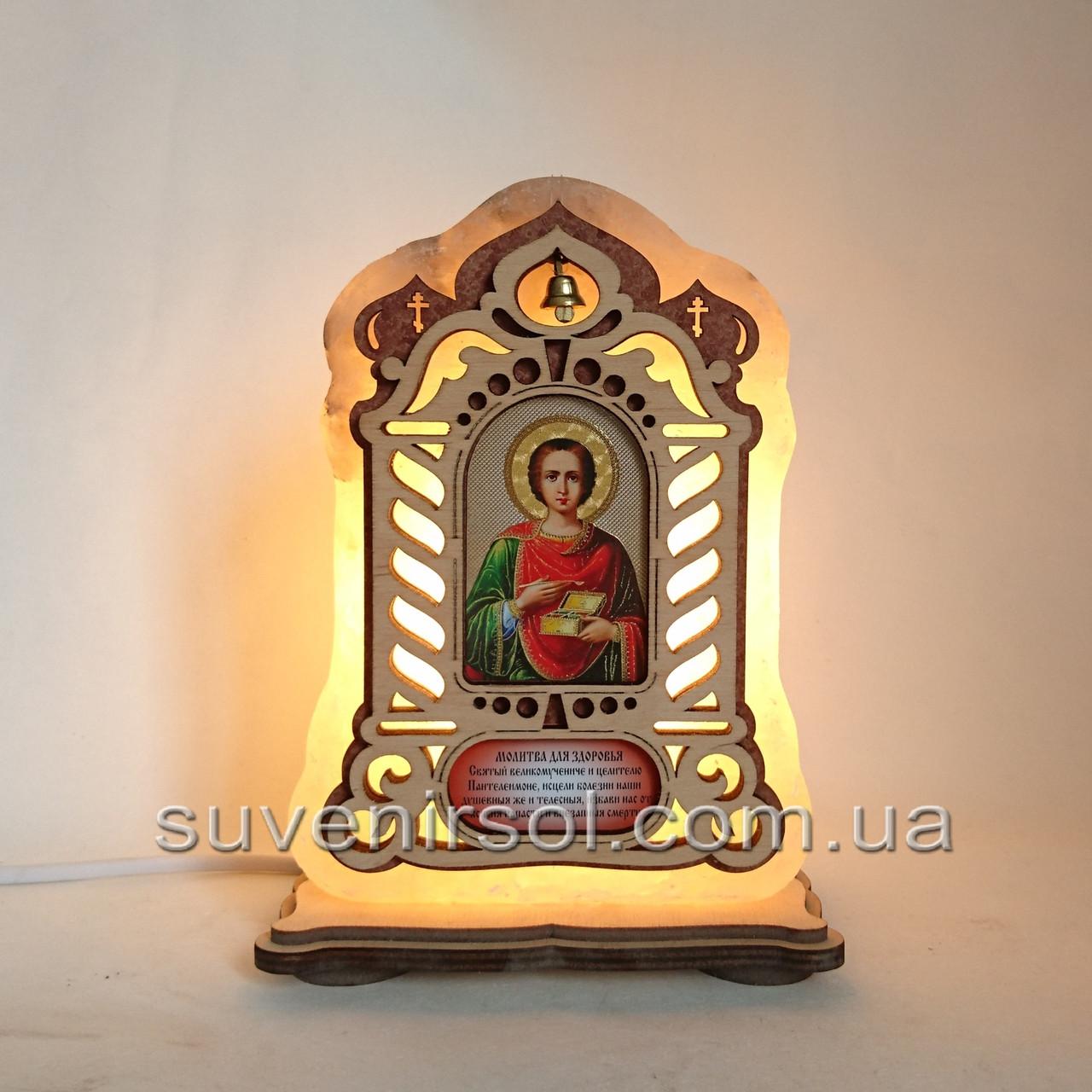Соляной светильник Икона большая Пантелеймон