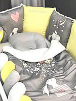 """Бортик защита в детскую кроватку , Комплект бортиків в дитяче ліжечко """"Зайки"""""""
