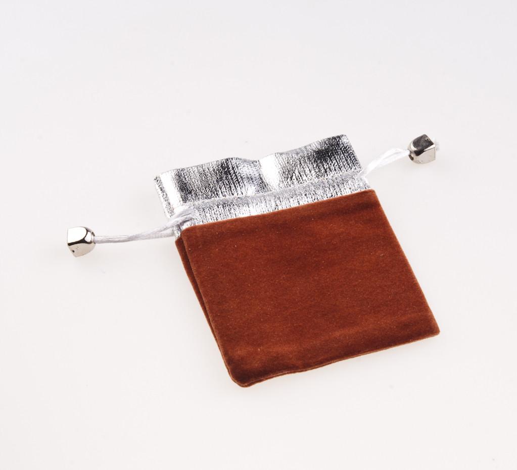 Мешочек коричневый с серебром 11х8