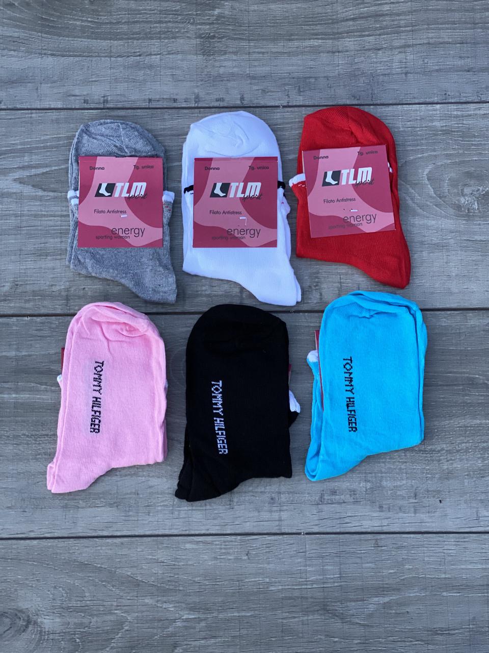 Жіночі шкарпетки короткі патіки котон ТLM однотонні 35-40 з натписом Tommy Hilfiger 12 шт в уп мікс 6 кольорів