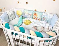 """Бортик защита в детскую кроватку , Комплект бортиків в дитяче ліжечко з принтом """"Казкові звірята"""""""