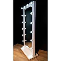 Туалетное гримерное визажное зеркало с подсветкой на подставке с колесиками LED лампочки в подарок