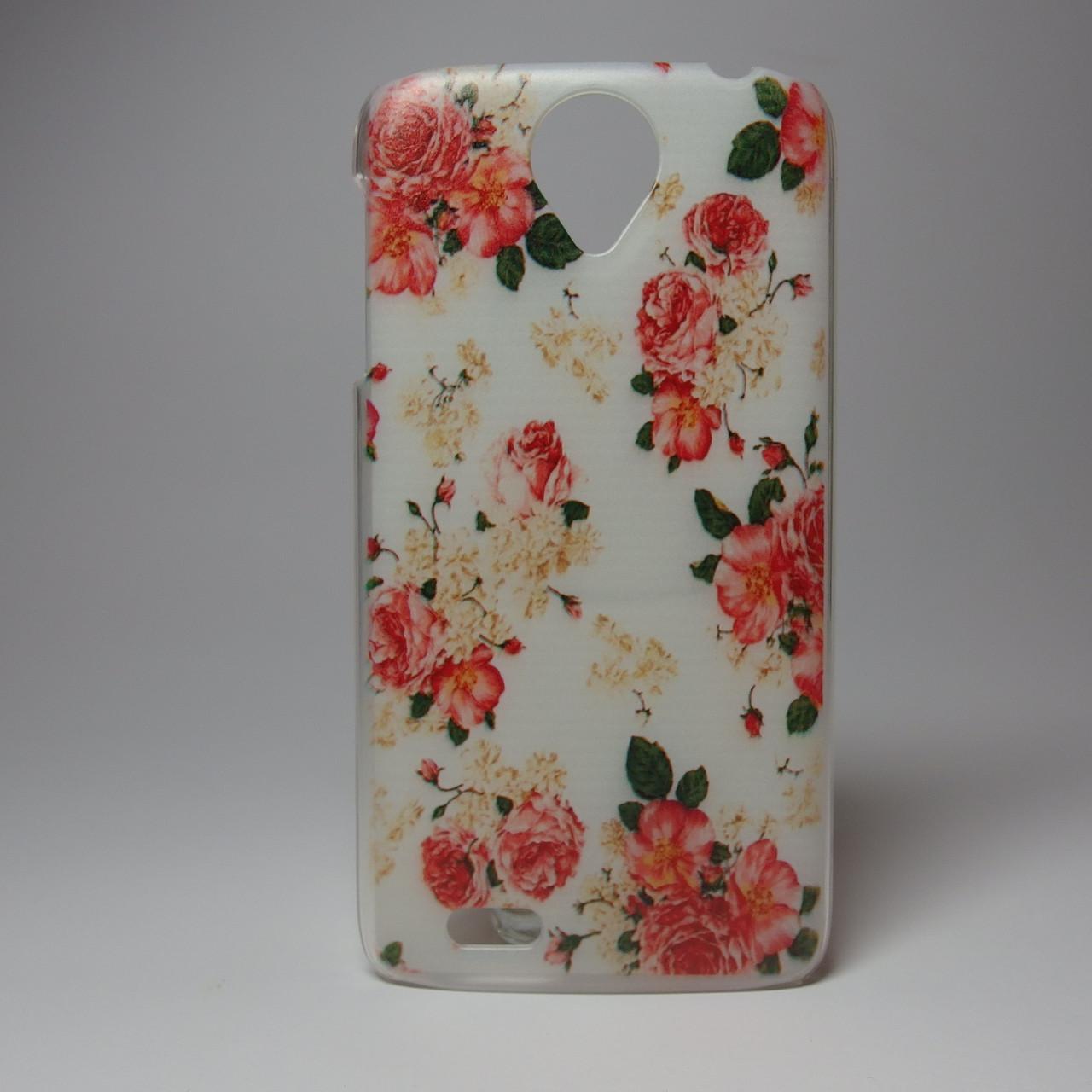 Чехол для lenovo s820 панель накладка с рисунком цветы пионы