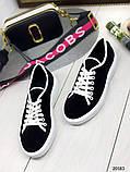 Женские кеды Converse на шнуровках черные из натуральной замши на белой подошве, фото 4