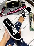 Женские кеды Converse на шнуровках черные из натуральной замши на белой подошве, фото 5