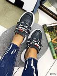 Женские кроссовки на шнуровках черные с белым и серые из натуральной кожи, фото 2