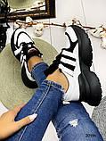 Женские кроссовки на шнуровках черные с белым и серые из натуральной кожи, фото 4