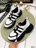 Женские кроссовки на шнуровках черные с белым и серые из натуральной кожи, фото 5