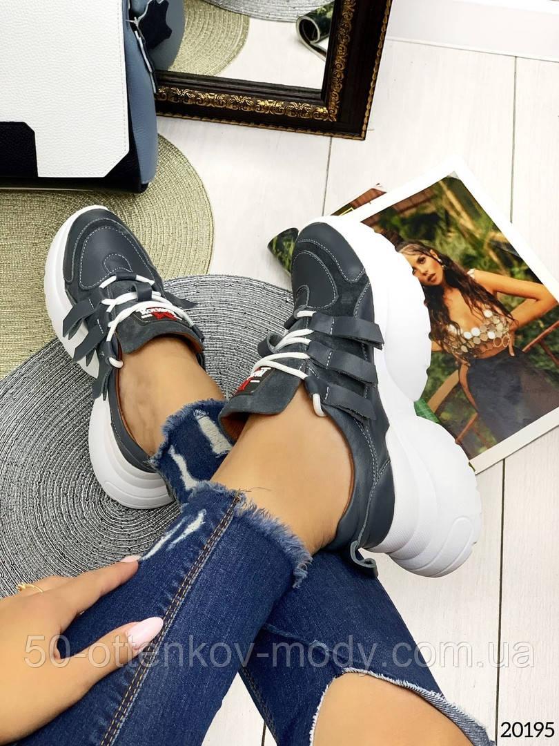 Женские кроссовки на шнуровках черные с белым и серые из натуральной кожи