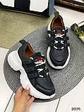Женские кроссовки на шнуровках черные с белым и серые из натуральной кожи, фото 3