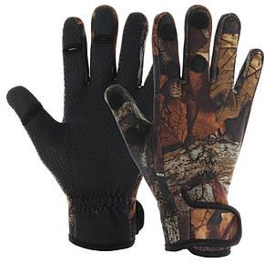 Рукавички з відкриваються пальцями для риболовлі з неопрену коричневі