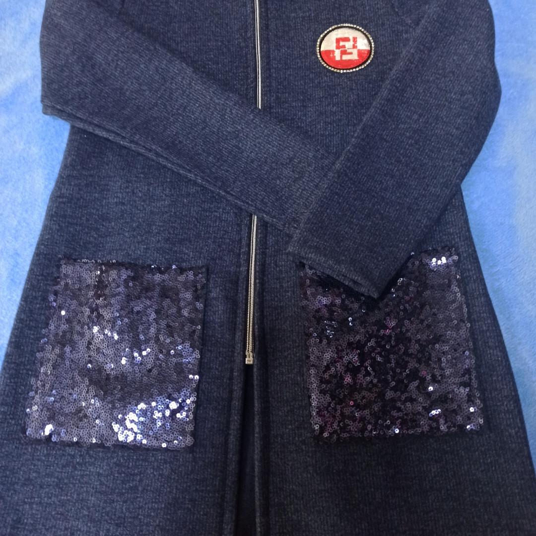 Кардиган теплый для девочки на замке с карманами и паетками.