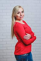 Трикотажная женская кофта красная, фото 1