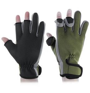 Рукавички з відкриваються пальцями для риболовлі з неопрену зелені