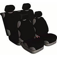 Майки на сиденья автомобиля Beltex Cotton передние и задние 4шт универсальные без подголовников черные (13210)