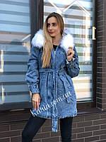 Зимняя женская джинсовая куртка парка с поясом