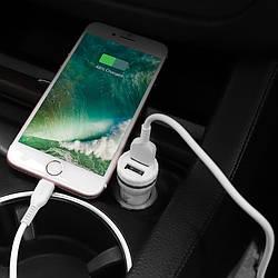 Автомобильное зарядное устройство 2USB 24A Hoco Z27 Staunch + Кабель Lightning 1м (Z27+IPhone)