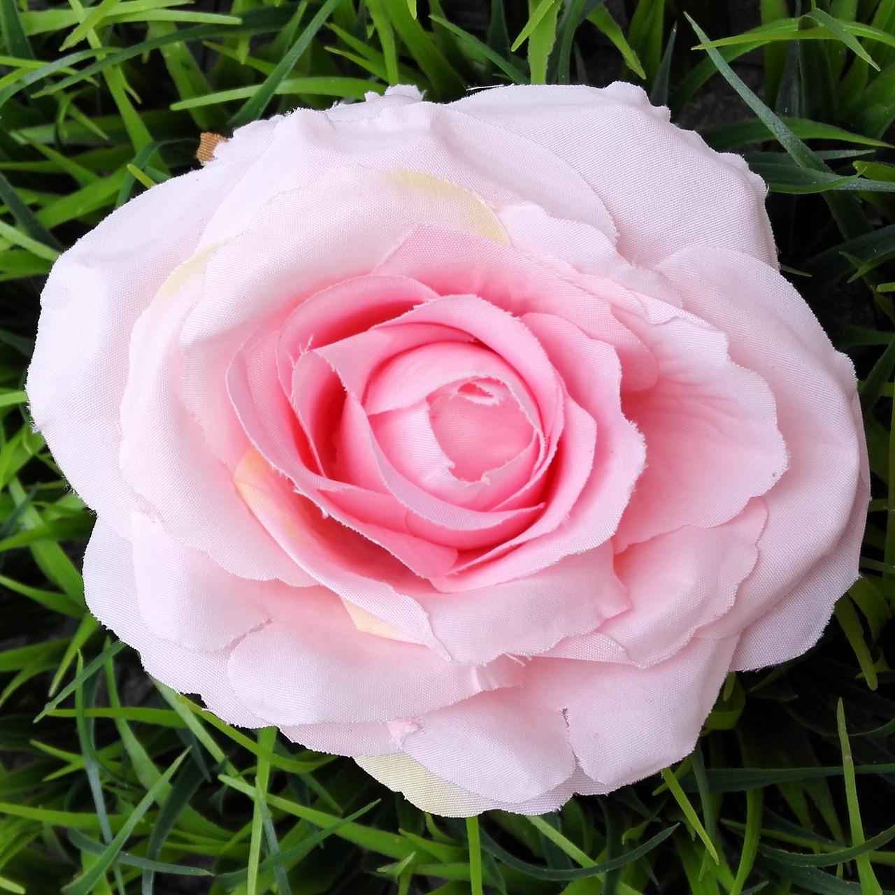 Головка розы раскрытая  розовая 10 см (5 шт в уп)