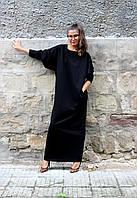 Свободное платье- мешок черное большой размер