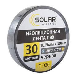 Изолента SOLAR IT030 черная 30м