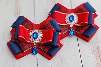 Бантики для волос на резинке детские красно-синие украшение подарок для девочки 291