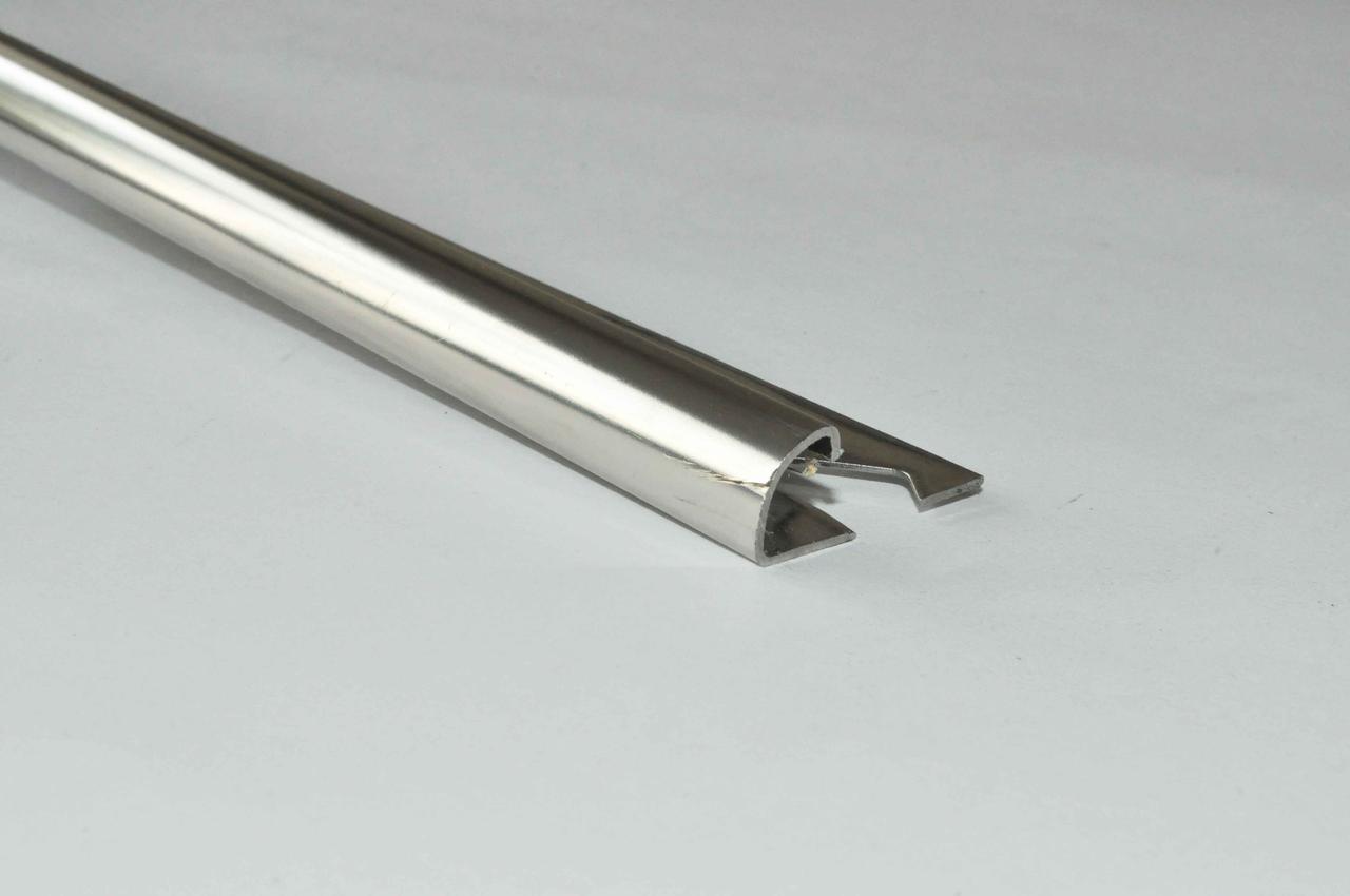 Кут для плитки зовнішній напівкруглий Pawotex 10 мм 2.5 м нержавіюча сталь STR10
