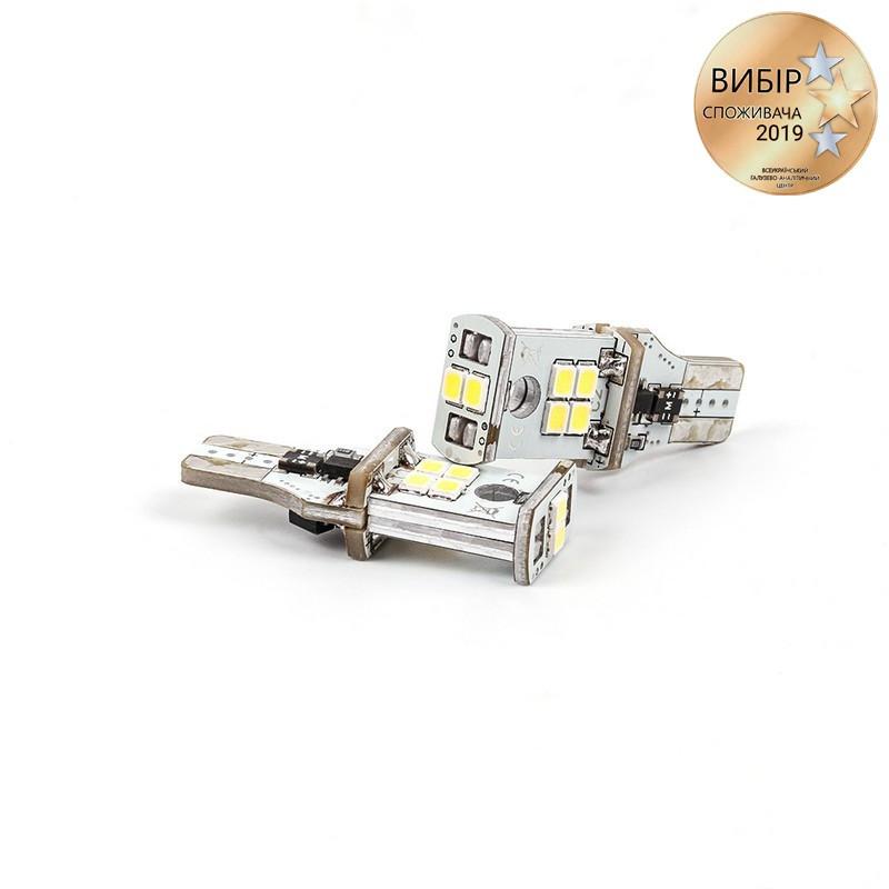 Светодиодные лампочки Carlamp 550Лм 10-16В 6000К W16W (3GS10-T15-W)