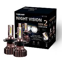 Светодиодные лампы H4 для авто Carlamp Night Vision Gen2 5000 Lm 5500 К Led автолампы 2 шт (NVGH4)