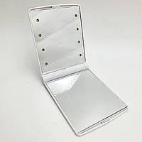 Зеркало карманное дорожное с LED подсветкой складное мини зеркальце Make ap Mirror белый
