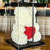 Мишка из роз 40 см в подарочной коробке / Мишка из цветов / Оригинальный подарок девушке Красный, фото 4