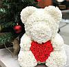 Мишка из роз 40 см в подарочной коробке / Мишка из цветов / Оригинальный подарок девушке Красный, фото 5