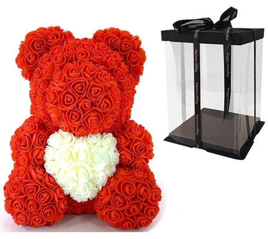 Мишка из роз 40 см в подарочной коробке / Мишка из цветов / Оригинальный подарок девушке Красный