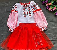 Вышитый костюм для девочки с фатином