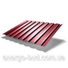 Профнастил ПС-10 с полимерным покрытием 0,5мм 3011 (красный)