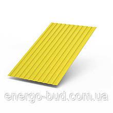 Профнастил ПС-10 с полимерным покрытием 0,5мм 1018 (желтый)