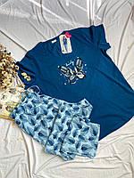 Женская пижама футболка штаны больших размеров 58/60, 60/62 батал хлопок Х/Б трикотаж Vienetta (Турция)