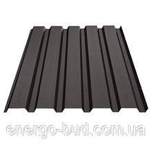 Профнастил ПС-10 с полимерным покрытием 0,5мм 8019 (темно-коричневый