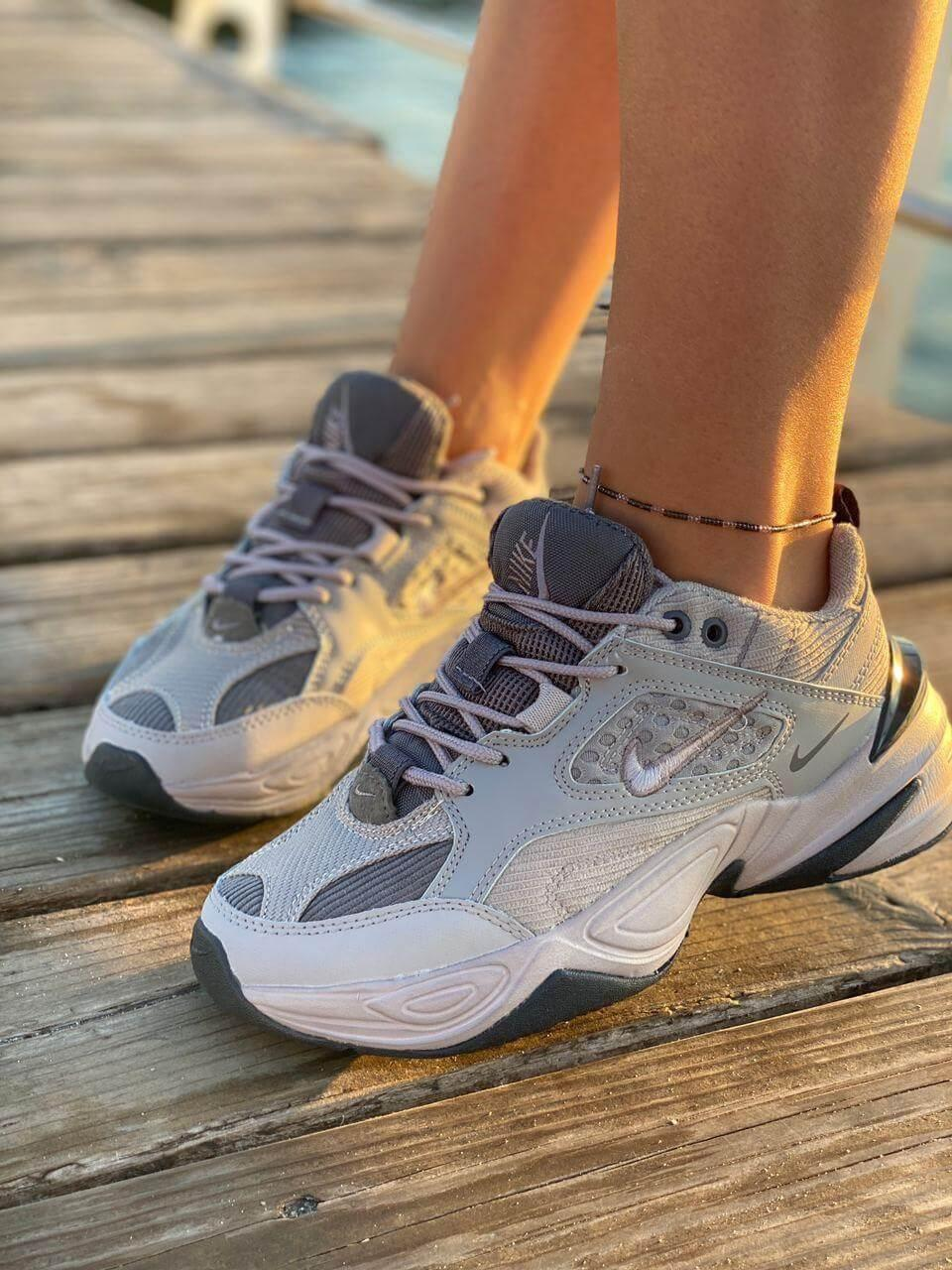 Женские серые кроссовки Nike M2K Tekno Grey (Женские кроссовки Найк М2К Текно серого цвета) 36-41