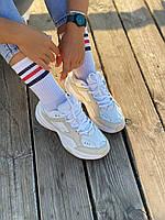 Женские кроссовки Nike M2K Tekno белые с бежевым (Женские кроссовки Найк М2К кожаные белые с бежевым)