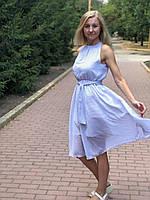 Плаття біле в чорний горох, коктейльне, легке, літнє