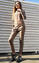 Костюм прогулянковий стильний з сріблястими лампасами, фото 2