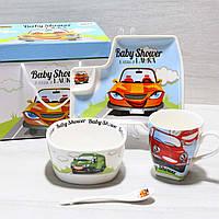 Посуд дитячий з порцеляни Машинки (4 предмета)