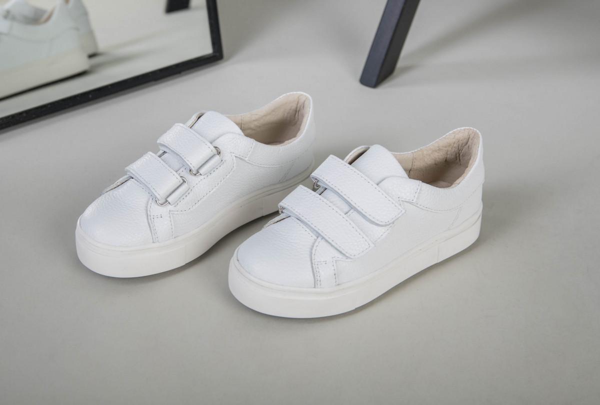 Детские подростковые кеды кожа флотар белые на липучках