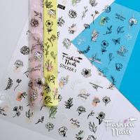 Декор для ногтей стикеры Fashion Nails наклейки 3D на липкой основе вензеля (Sticker/1)